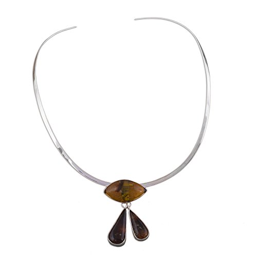 NOVICA Amber .925 Sterling Silver Choker Necklace, 13.5