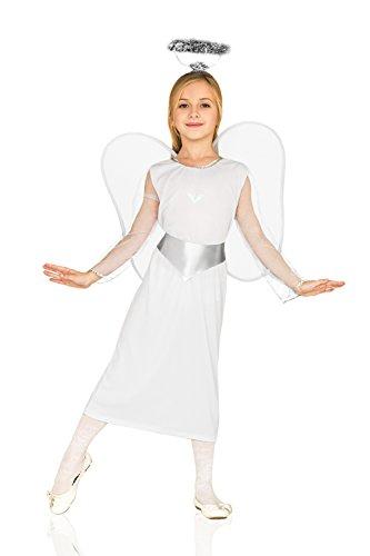 Kids Girls Guardian Angel Angelic Divine Fairy Wings Halo Party Fancy Dress Up (3-6 years, White) (Angel Fancy Dress Children)