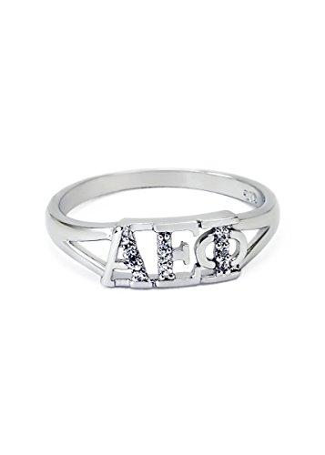 The Collegiate Standard Alpha Epsilon Phi Sterling Silver Ring set w/Czs 5.0