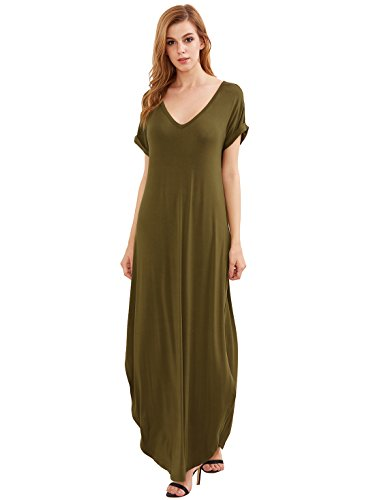 Verdusa Women's V Neck Side Pockets Split Hem Beach Long Maxi Dress Olive Green XS ()