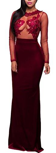 La Vogue Robe Femme Queue De Poisson Rouge Longue Collier Dentelle Soirée