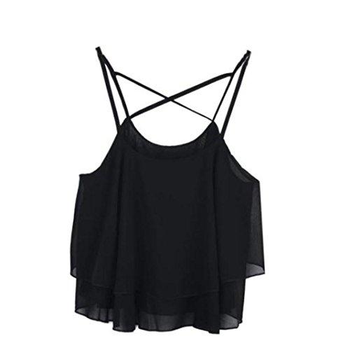 (TOPUNDER 2018 Women Irregular Vest Summer Strap Tank Floral Print Chiffon Shirts Camisole)