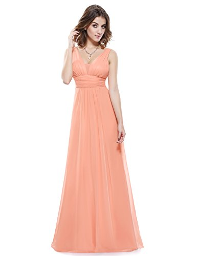 Mujer Imperio Melocotón Largo Noche V de Vestido Corte Pretty en Ever Escote para 08110 fwqzPpp