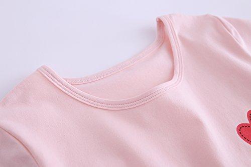 Abalaco Girls Kids Cotton Summer Cartoon Nightgown Sleepwear Dress Pretty Home Dress 3-12T (11-12 Years, Pink heart) by Abalaco (Image #6)
