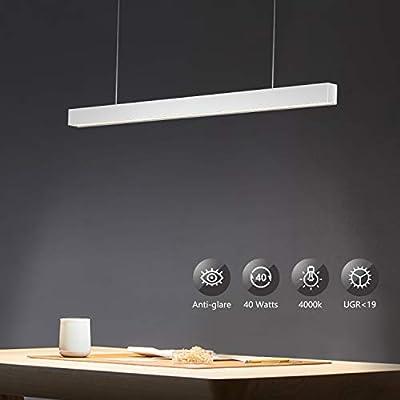 OOWOLF 40W Supermercado LED Lámpara De Techo Colgante, 3200lm Colgante De Luz Blanca Neutra 4000K Altura Regulables Para Mesa Oficina, Comedor, Fábrica, Centros: Amazon.es: Iluminación