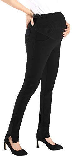 Foucome Maternity Work Pants Skinny Career Wear Over Bump Pregnance Trousers Slim Women Black