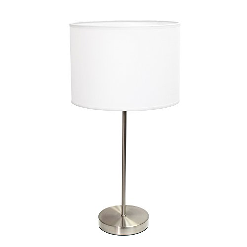Simple Designs Home LT2040-WHT Brushed Nickel Stick Lamp with Fabric Shade, White