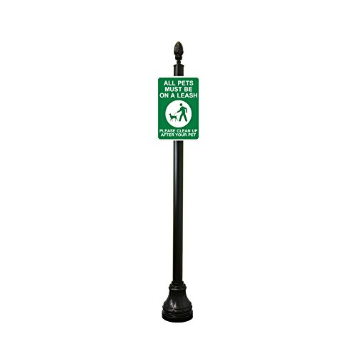 Reflective Keep Dog on Leash / Clean up After Your Pet Sign with Decorative Sign Post (Pineapple Finial, Bell (Sign Pole Decorative Bases)