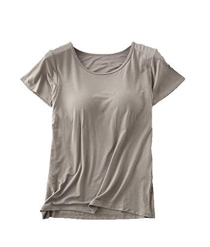 Women's Modal Built-in Bra Fingers Padded Wireless Bra Tunic Pajama Top Tee Shirts Dark Grey 3XL - (fits Like US 16-18) ()