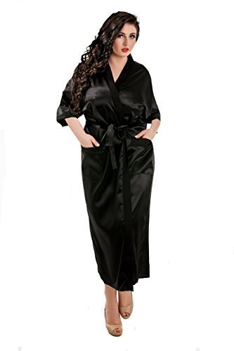 Image Unavailable. Image not available for. Color  Sexy Ladies Long Full  Length Kimono Satin Robe Dressing Gown ... 218a623bc