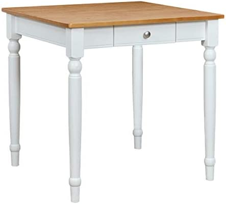 Ravenna Home Traditional Dining Table 29 H, White and Rustic Honey Pine