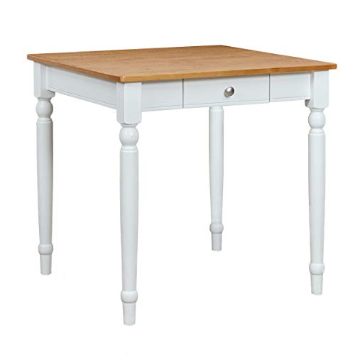 """Ravenna Home Traditional Dining Table 29""""H, White and Rustic Honey Pine"""