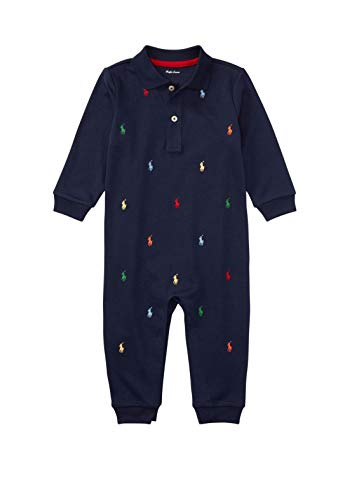 Ralph Lauren Baby Boys Pony Cotton Interlock Coverall Navy