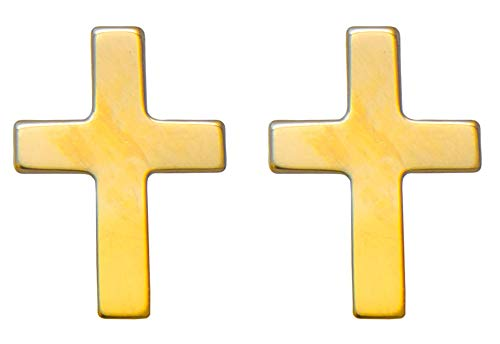 - Small 14K Yellow Gold Children's Cross Post Stud Earrings, 15mm x 6mm