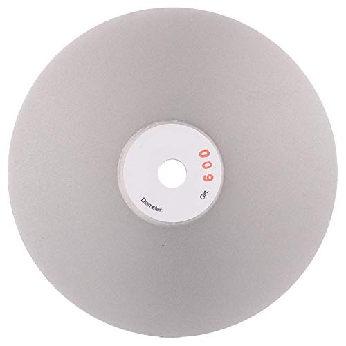 Drilax 6 inch Grit 600 Professional Quality High Density Diamond Coated Flat Lap Lapping Lapidary Wheel Disc Glass Jewelry Polishing Tool Grinding Sharpening Metal Back 1/2 Arbor (Grit600) ()