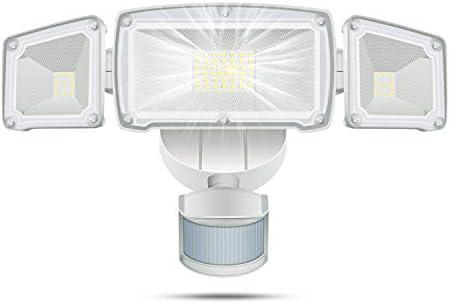 WHDZ 42W LED Security Light 3 Head Motion Sensor Light Outdoor LED Flood Light 3000LM 6000K Super Bright ETL Certified IP65 Waterproof 180 Illumination Range Human BOD