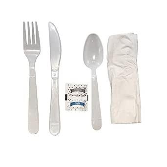 Kit de cubiertos de plástico blanco resistente con cuchara de tenedor servilletas y paquetes de sal y pimienta – 50/Cesta: Amazon.es: Amazon.es