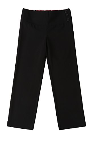 Bienzoe Girl's School Uniforms Stretchy Polyester Adjust Waist Flat Front Pants Black (Black Flat Front Capri)