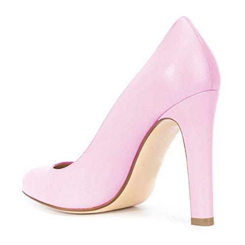 Fsj Donna Elegante Tondo Pompe Formali Slip On Office Dress Scarpe Tacchi Grossi Taglia 4-15 Us Pink