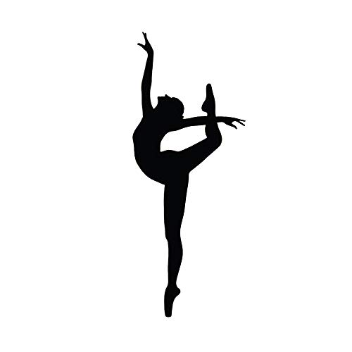 DNVEN Physical Training Dancing Girls Silhouette Removable Vinyl Wall Decal Home Décor for Dance Rooms Girls Rooms Black 22 inches x 58 inches