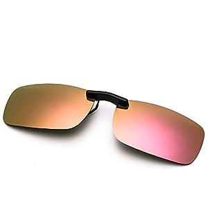 Clip On Sunglasses Men's Titanium Flexible Polarized Lenses Glasses Laura Fairy (A1-Pink, 55)
