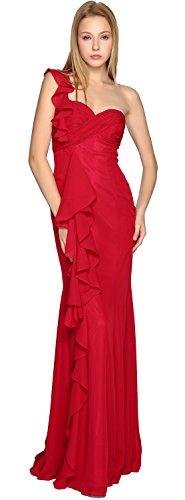 Elegant Chiffon Simple Bridesmaid Gown One Prom MACloth Long Rot Dress Shoulder qdxwHdBAT