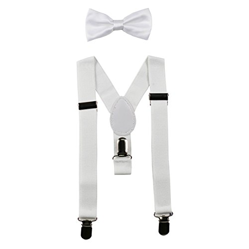 Baby Suspenders and Bow Tie Set (Elastic Adjustable--Fits Baby to Toddler) (White) (Bow Tie Set White)