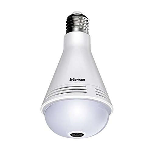 Bluetooth Email (Evtevision Camera Bulb VR Panoramic Bulb Camera with 360 Degree Fisheye Lens 960P Wireless WiFi IP Camera,Built in Smart Bluetooth Speaker and Microphone,Email Alert, for Indoor Home Surveillance)