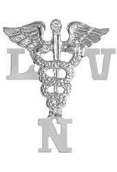 NursingPin - Licensed Vocational Nurse LVN Nursing Pin with Diamond in Silver