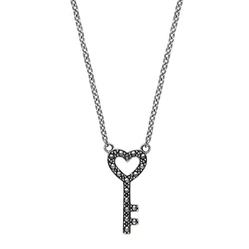 Aura by TJM 925 SS 0.128 cttw Pyramid-cut Marcasite Key-to-Heart Pendant in 18