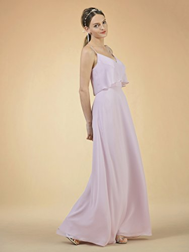 V Gown Party Neck Dress Dress Spaghetti Champagne Bridesmaid Maxi Long Chiffon Alicepub Prom Tx4qnwFwC