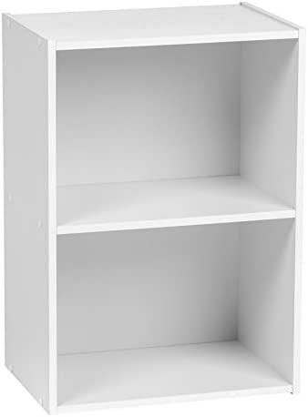 IRIS USA 2-Tier Wood Storage Shelf, White