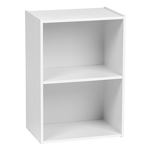 IRIS 2-Tier Wood Storage Shelf, White (Corner Modular)