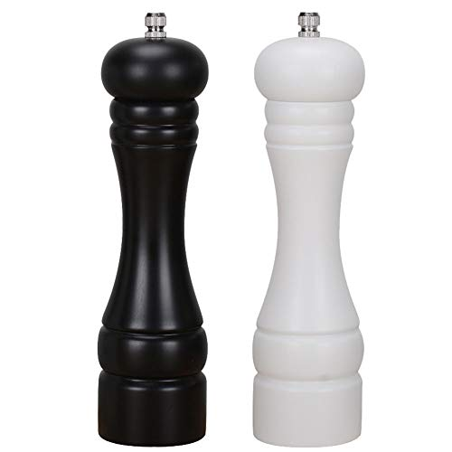 Haomacro Salt and Pepper Grinder Set, Wooden Salt and Pepper Mills, Shakers with Adjustable Ceramic Core, Classic Black and White-8 Inch -Pack of 2 ()