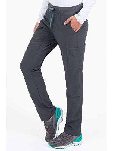 - Med Couture Air Scrubs for Women, Yoga 2 Cargo Pocket Pant, Pewter/Aruba Blue, X-Large Petite