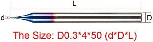GENERICS LSB-Werkzeuge, 0,1mm 0,2mm 0,3mm Schneidkantendurchmesser HRC65 Hartmetall 2 Nuten Micro CNC Werkzeug Fräser Flachschaftfräser Fräser (Größe : 29mm)
