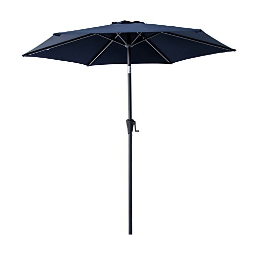 C-Hopetree 7.5 ft Patio Market Outdoor Umbrella for Small Deck Balcony Yard or Garden with Crank and Tilting, Navy Blue ()