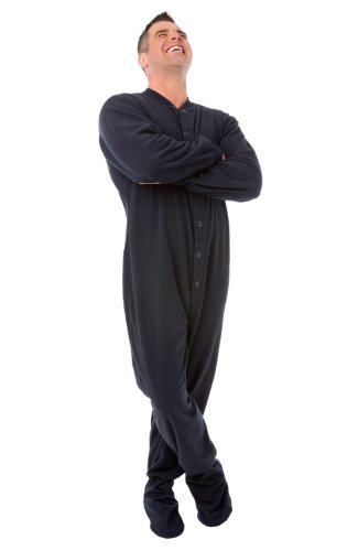 Navy Blue Fleece Sleeper for Adult Men & Women Footed Pajamas Onesie by Big Feet Pajama Co.
