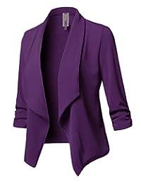 desolateness Women's Stretch 3/4 Gathered Sleeve Open Blazer Jacket