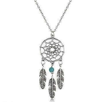 Hot Women Jewellery Retro Turquoise Feather Tassel Dream Catcher Pendant Necklace Family Friend Gift Silver oLExX7
