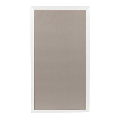 DesignOvation Bacie Oversized Wall Mounted Fabric Pinboard with Decorative Frame, 30 x 55 Inches, White