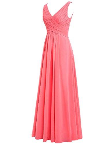 Ballkleider Hochzeit Chiffon Kleider Lang HUINI Abendkleider V A Rot Rückenfrei Ausschnitt Linie Brautjungfernkleider Festliche qqt7z