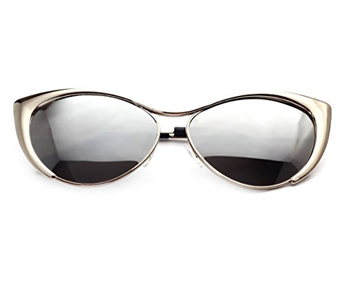 Heartisan Colorful Cat Eye Reflective Lens Full Rim Metal Frame Sunglasses - Coupon Sunglasses Italy
