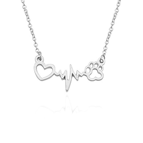 dwcly Romantic Love Heart Cute Pet Pawprint Necklace Charm Gift for Women Girls (Silver Necklace)