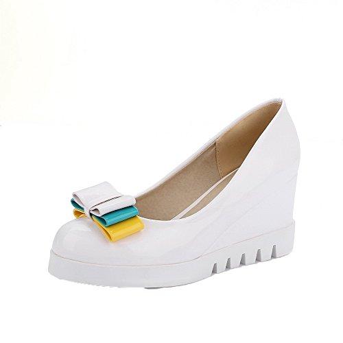 VogueZone009 Femme PU Cuir Couleur Unie à Talon Haut Tire Chaussures Légeres Blanc y8N7s59