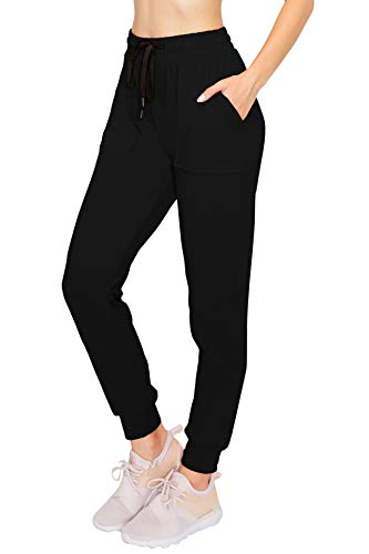 ALWAYS Women's Solid Jogger Pants - Fleeced Warm Premium Soft Sweatpants with Pockets Black S