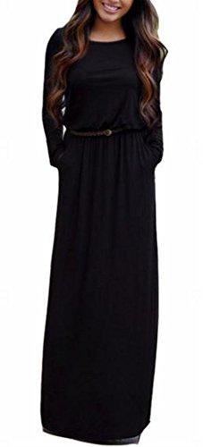 Jaycargogo Des Femmes De Couleur Unie Ras Du Cou À Manches Longues Maxi Robe Casual Avec Ceinture Noire
