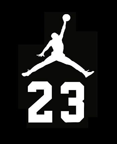 Micheal 23 Air Jordan Flight Logo Vinyl Decal Sticker - Car Window, Laprop, Wall, Mac (5.5'' inches, White) by Vinyl Sticker (Image #2)