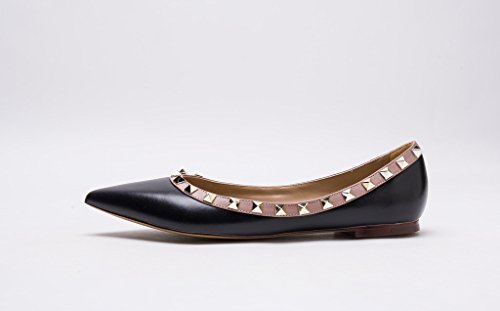 Gold Toe Black Leather Pan Matte Ballerina Studded Nude Flats Kaitlyn Studs Pointed Trim qPxZnZO