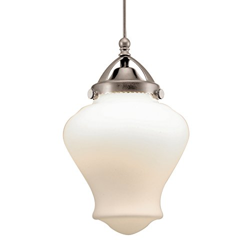 Led Classic Monopoint Pendant (WAC Lighting MP-LED493-WT/BN Sheffield LED Pendant Fixture with Brushed Nickel Canopy, One Size, White)